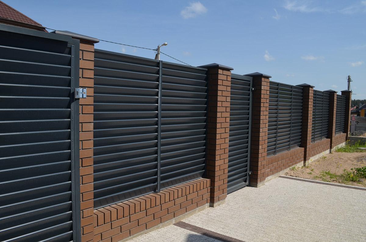 Забор-жалюзи RAL 7016 Колодищи